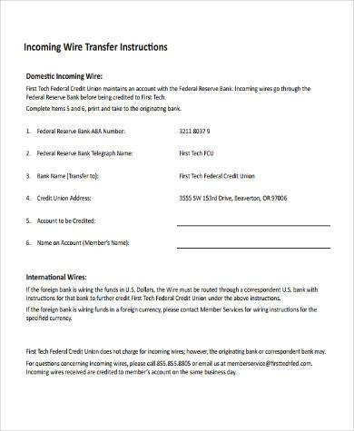Wire Transfer Instructions Template Wire Transfer form Samples 7 Free Documents In Word Pdf