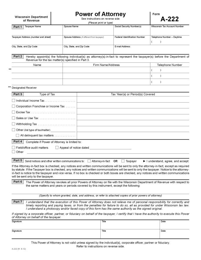Wisconsin W2 form Download Wisconsin Tax Power Of attorney form A 222