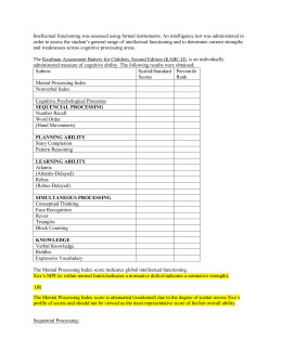 Wj Iv Report Template 8 Cognitive Template