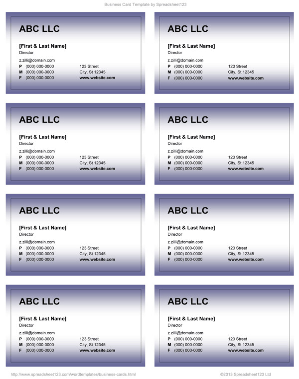 Word Business Card Templates Business Card Templates for Word