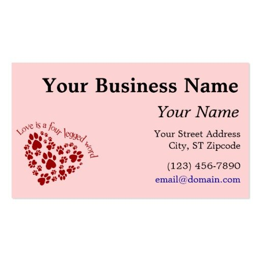 Word Business Card Templates Love is A Four Legged Word Double Sided Standard Business