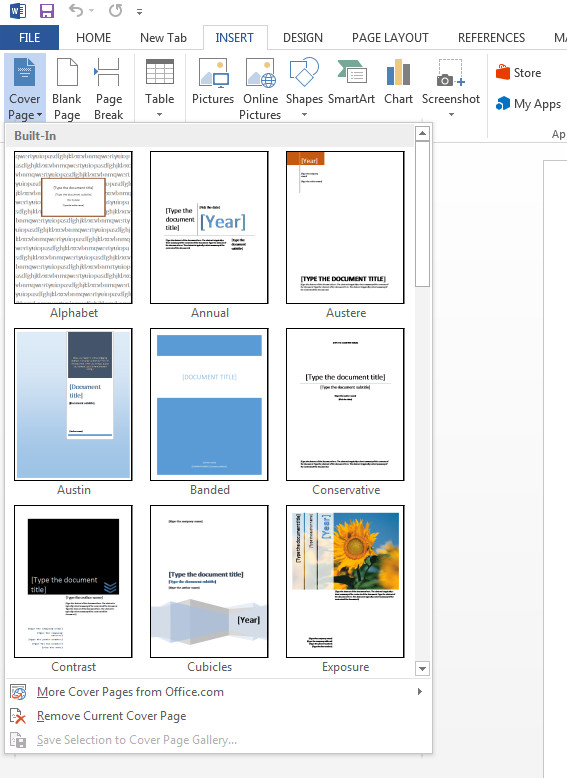 Word Cover Page Templates How to Create A Cover Page In Microsoft Word 2013