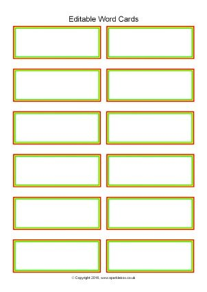 Word Flash Card Template Editable Primary Classroom Flash Cards Sparklebox
