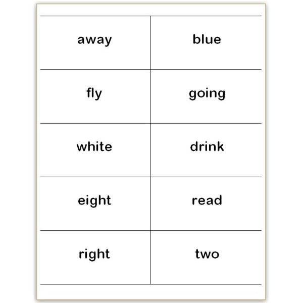 Word Flash Card Template where to Find and How to Make Printable Dolch Sight Word