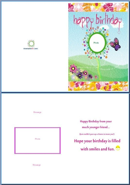 Word Greeting Card Template Birthday Card Template Word