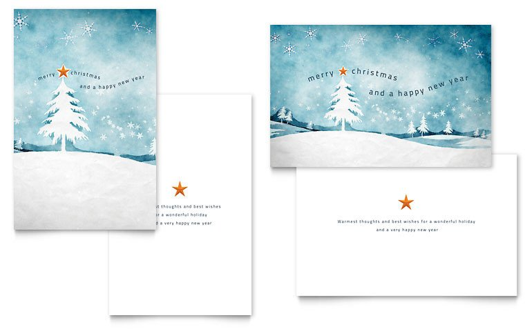 Word Greeting Card Template Winter Landscape Greeting Card Template Word & Publisher
