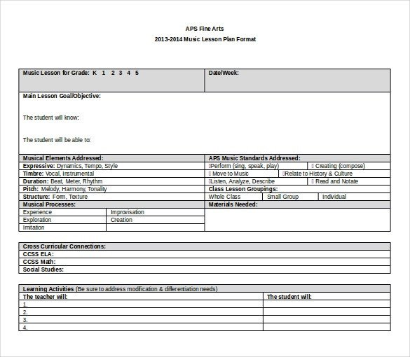 Word Lesson Plan Template 11 Microsoft Word Lesson Plan Templates