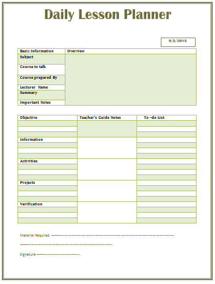 Word Lesson Plan Template Daily Lesson Plan Template for Middle and High School