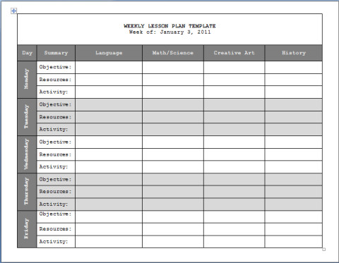Word Lesson Plan Template Graphics and Templates