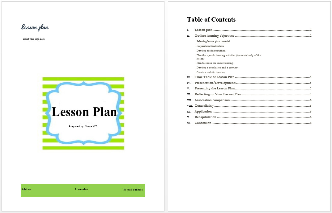 Word Lesson Plan Template Lesson Plan Template Microsoft Word Templates