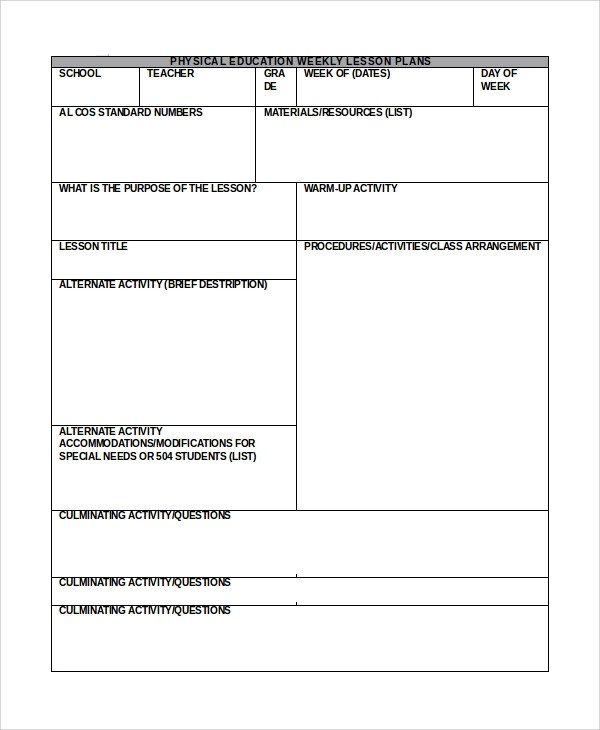 Word Lesson Plan Template Sample Lesson Plan In Word 10 Examples In Word