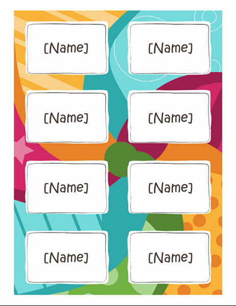 Word Name Tag Template Name Badges Bright Design 8 Per Page Works with Avery