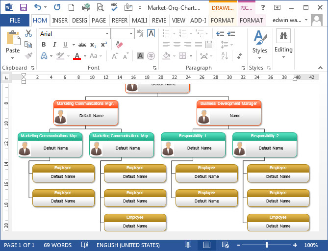 Word organization Chart Template organizational Chart In Word