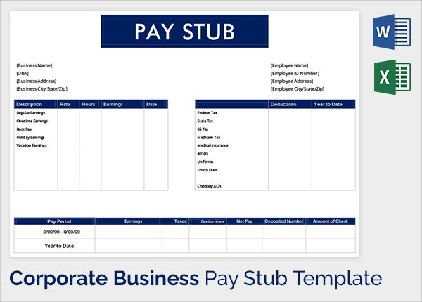 Word Pay Stub Template Sample Pay Stub Template 24 Download Free Documents In