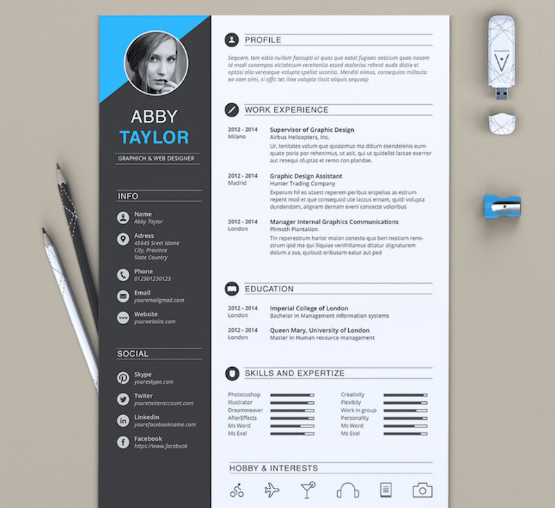 Word Resume Template Download 65 Eye Catching Cv Templates for Ms Word