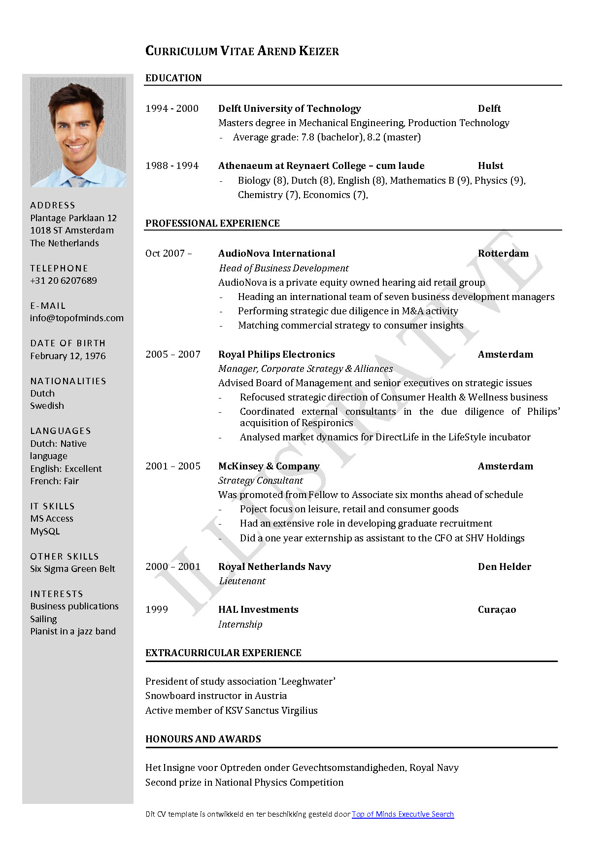 Word Resume Template Download Free Curriculum Vitae Template Word