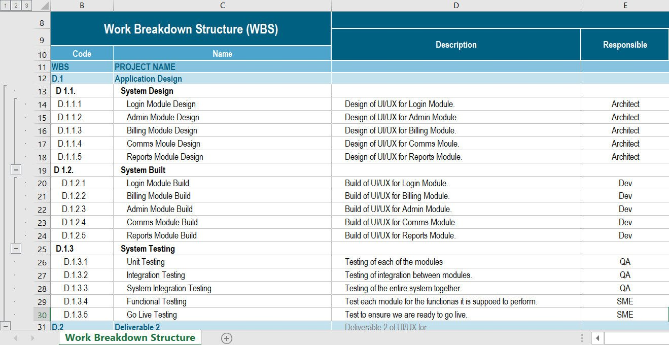Work Breakdown Structure Excel Template Work Breakdown Structure Excel and Word Wbs Template