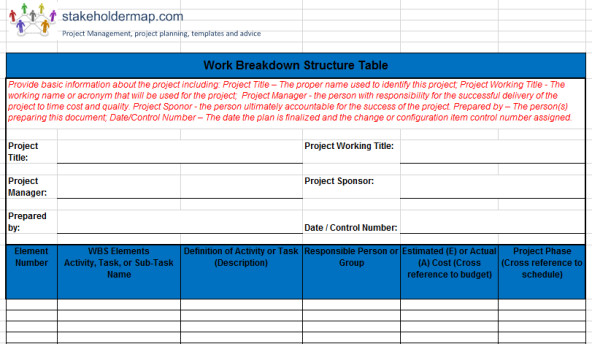 Work Breakdown Structure Excel Template Work Breakdown Structure Wbs