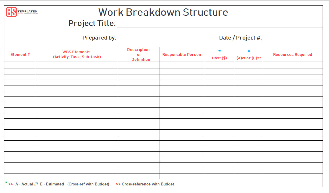 Work Breakdown Structure Excel Template Work Breakdown Structure Wbs Template