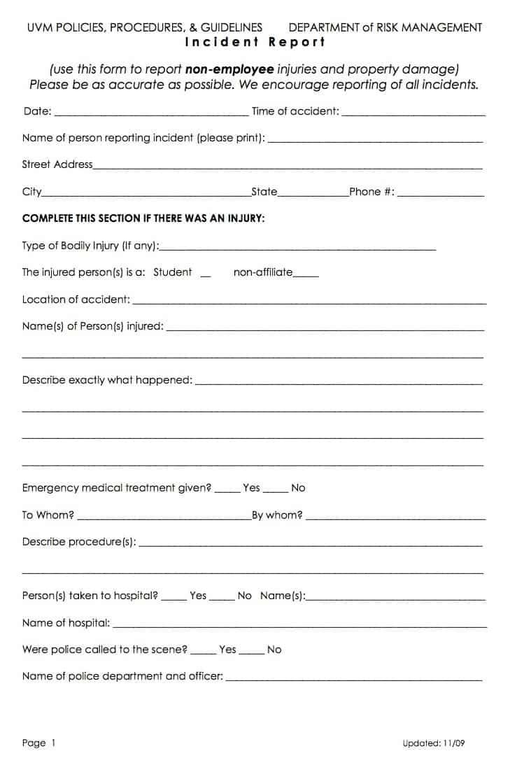 Work Incident Report Template 13 Incident Report Templates Excel Pdf formats