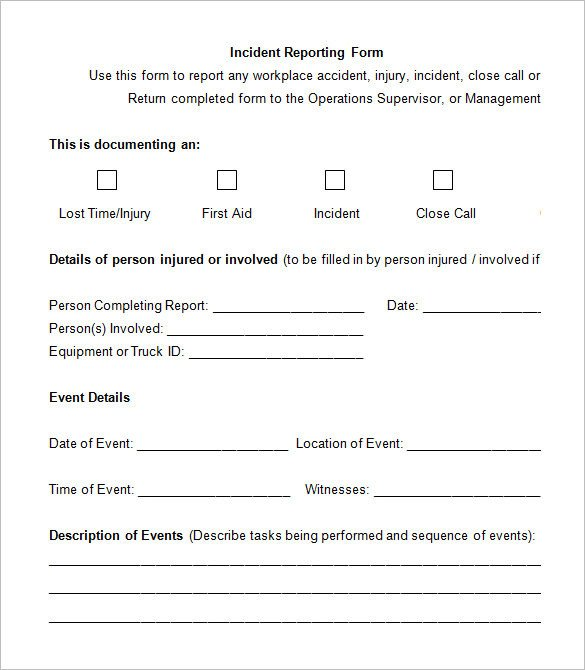 Work Incident Report Template 14 Employee Incident Report Templates Pdf Doc