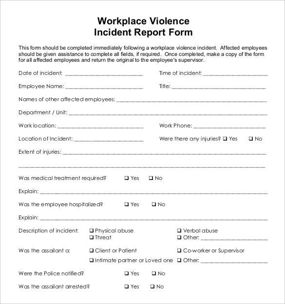 Work Incident Report Template 32 Incident Report Templates Free Pdf Word format