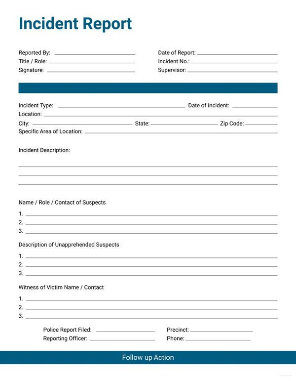 Work Incident Report Template 33 Incident Report format