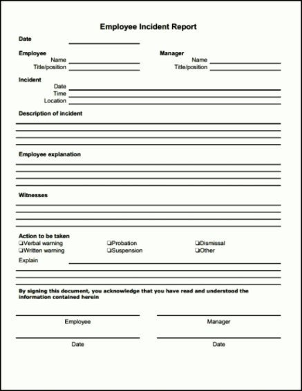 Work Incident Report Template Bar Incident Report form Template Template Update234