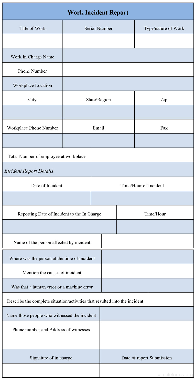 Work Incident Report Template Best S Of Work Incident Report form Workplace