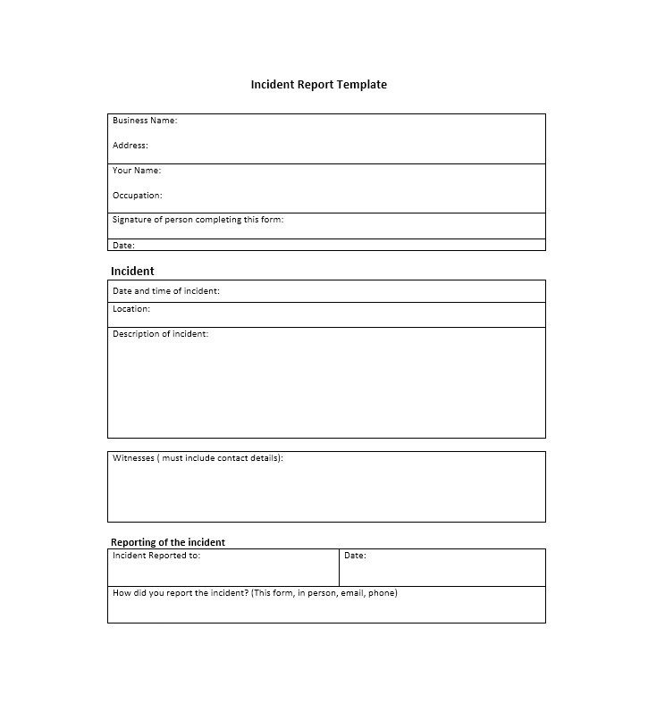 Work Incident Report Template Incident Report Template Editable Printable Free Download