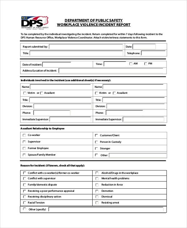 Work Incident Report Template Sample Incident Report form 6 Documents In Pdf Word