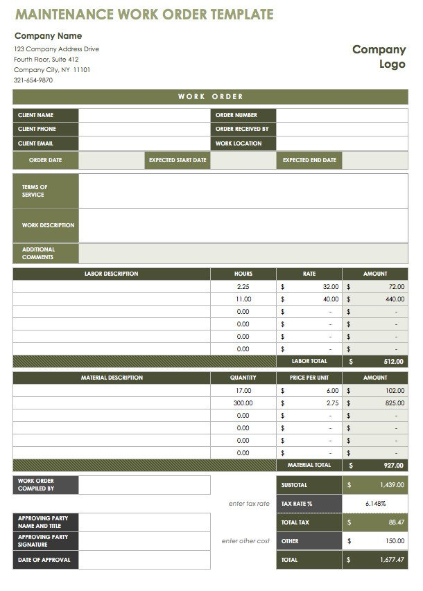 Work order Log Template 18 Free Property Management Templates