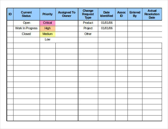 Work order Log Template 24 Change order Templates Pdf Doc