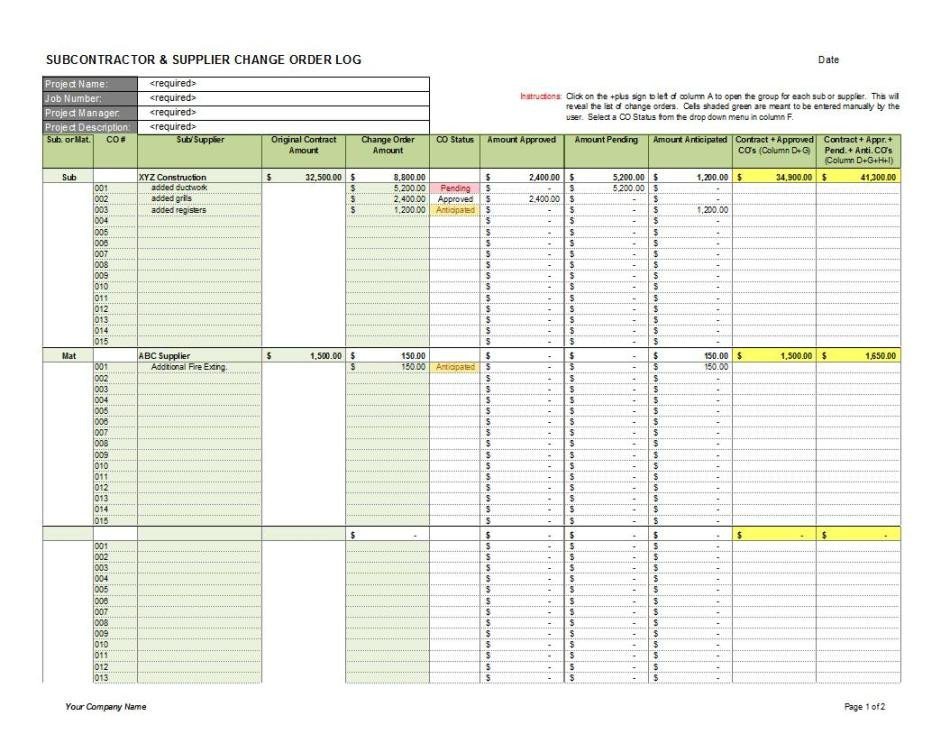 Work order Log Template Subcontractor Supplier Change order Log 1 Cms