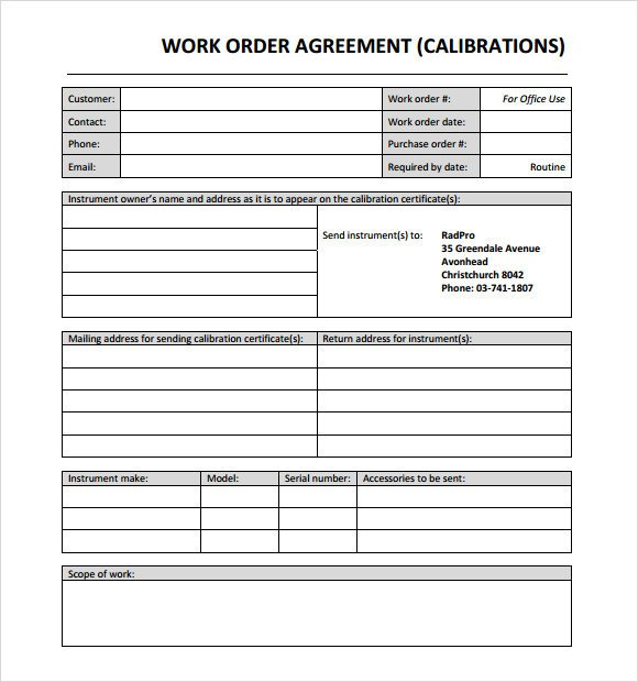 Work order Template Excel 14 Work order Samples Pdf Word Excel Apple Pages