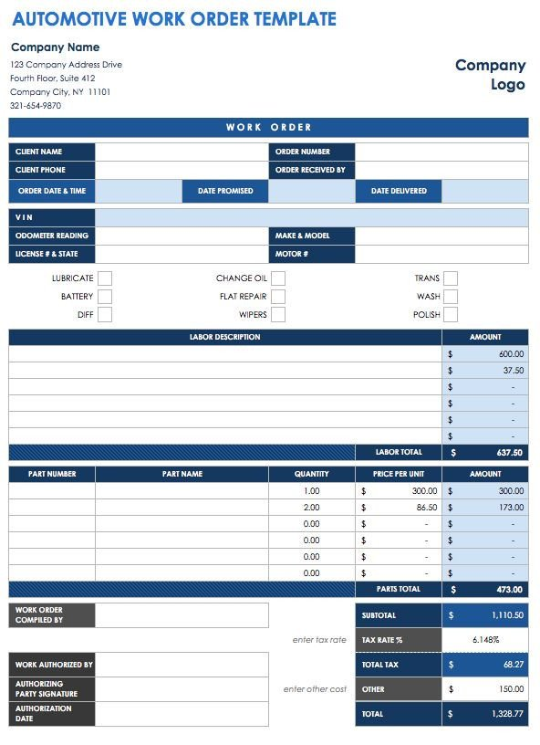 Work order Template Excel 15 Free Work order Templates