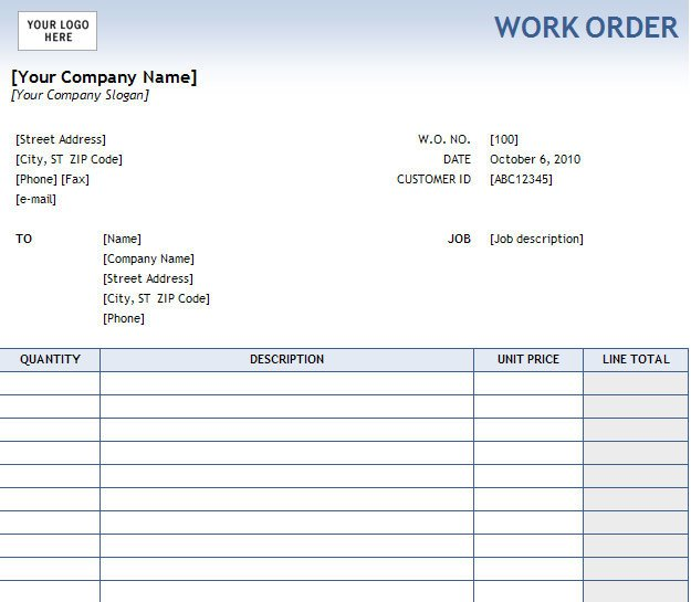 Work order Template Excel Work order form
