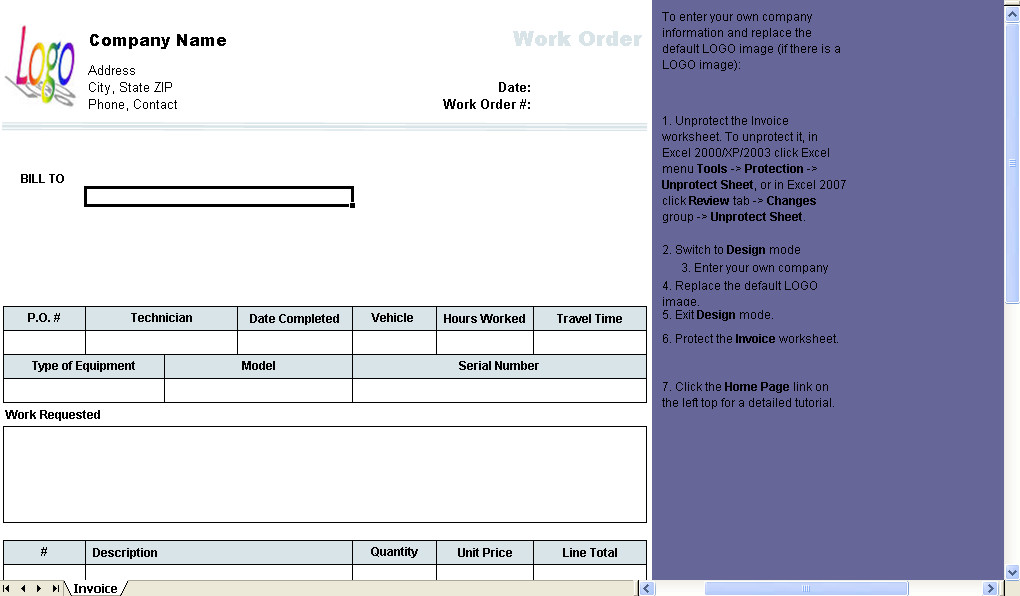 Work order Template Excel Work order Template Invoice Manager for Excel