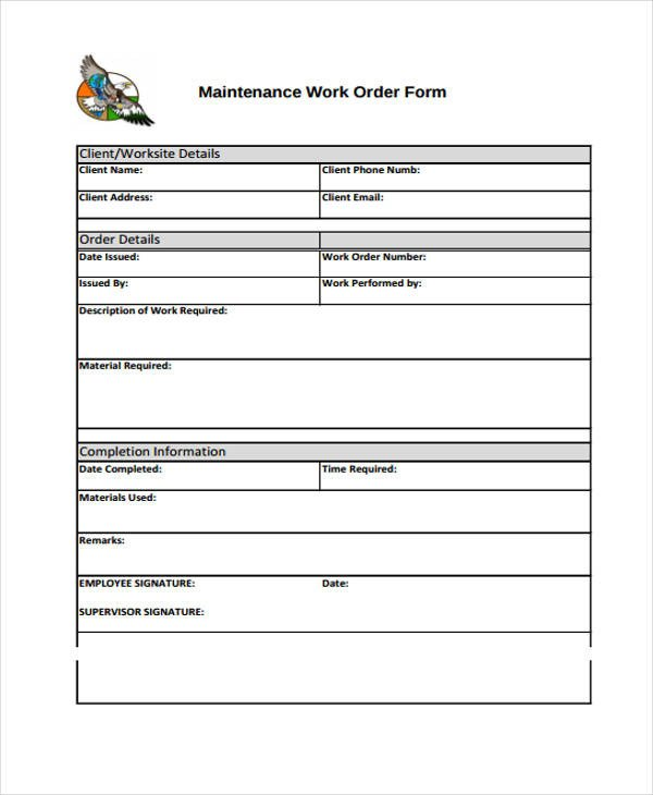 Work order Template Pdf 10 Work order Templates Pdf Apple Pages