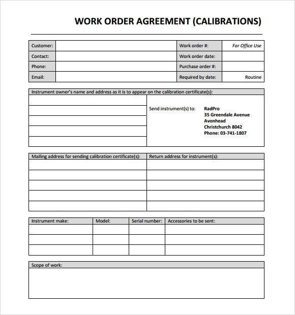 Work order Template Pdf 14 Work order Samples Pdf Word Excel Apple Pages