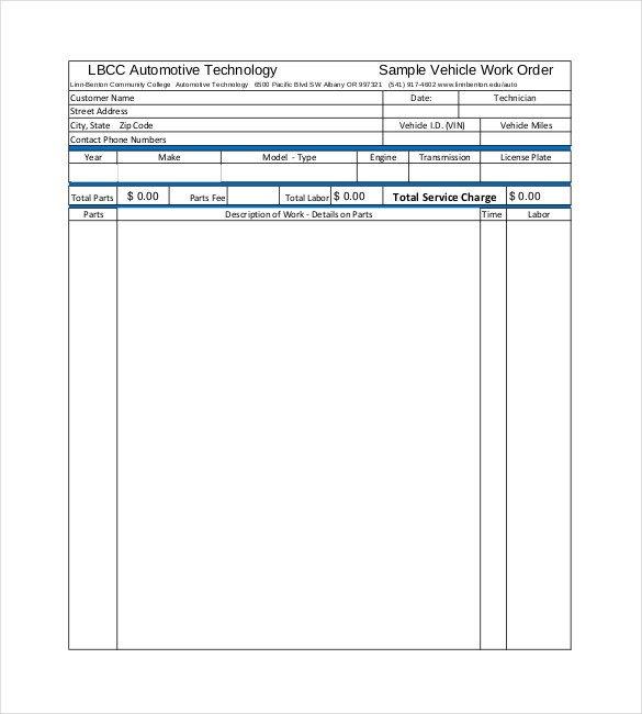 Work order Template Pdf 20 order Template Word Excel Pdf