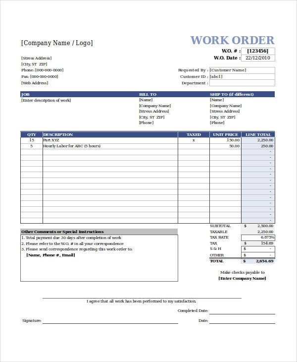 Work order Template Pdf Excel Work order Template 15 Free Excel Document