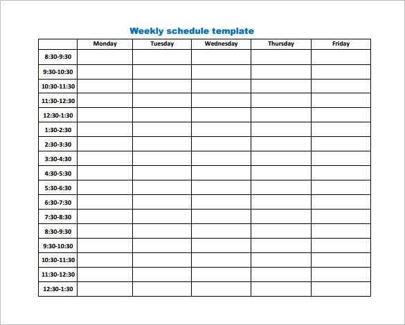 Work Schedule Template Pdf 9 Weekly Work Schedule Templates Pdf Docs