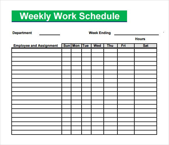 Work Schedule Template Pdf Blank Schedule Template 6 Download Free Documents In Pdf
