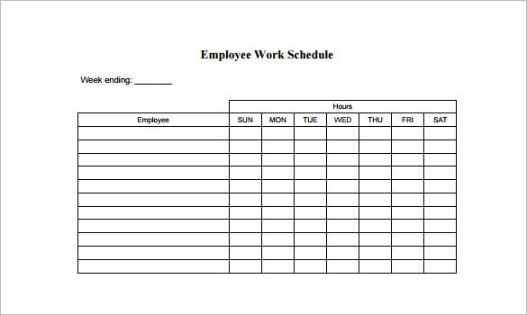 Work Schedule Template Pdf Employee Schedule Template 9 Free Word Excel Pdf