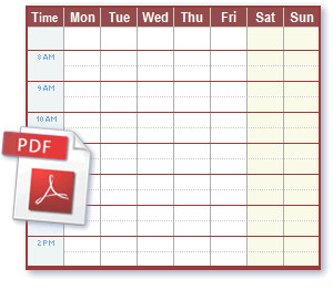 Work Schedule Template Pdf Schedule Pdf Files Ideal for Printing