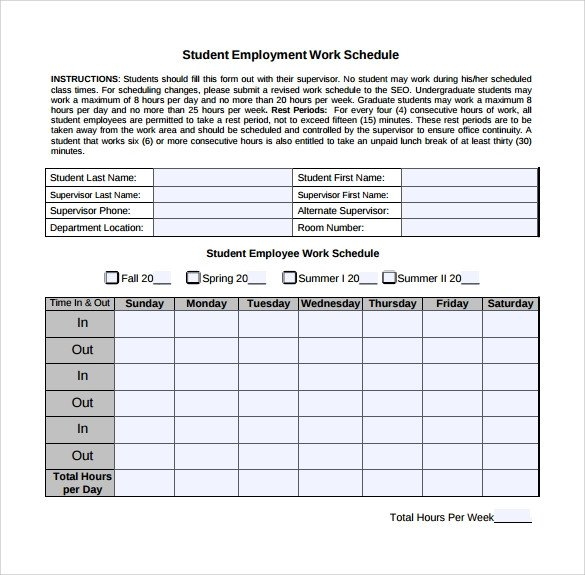 Work Schedule Template Pdf Work Schedule Template 15 Download Free Documents In