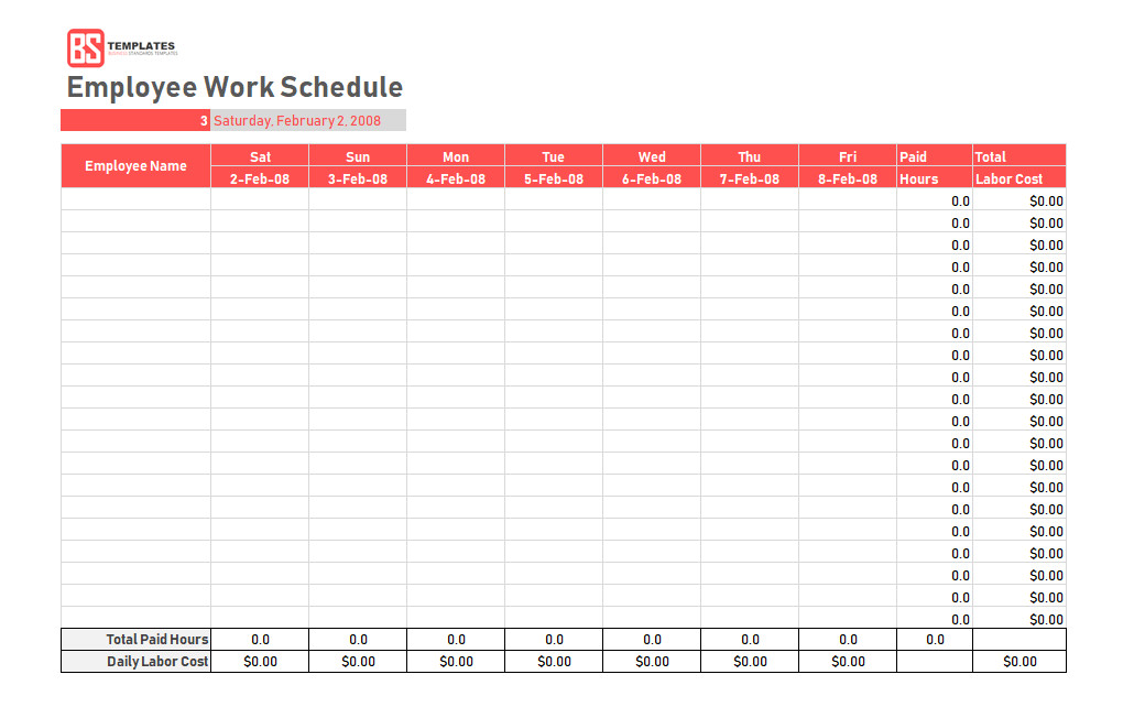 Work Schedule Template Pdf Work Schedule Template Daily Weekly