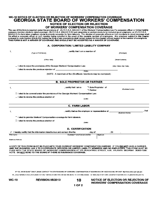 Workers Comp Exemption form Michigan 2019 Workers Pensation forms Fillable Printable Pdf