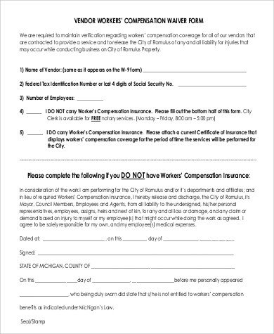 Workers Comp Exemption form Michigan Sample Workers Pensation form 9 Examples In Word Pdf